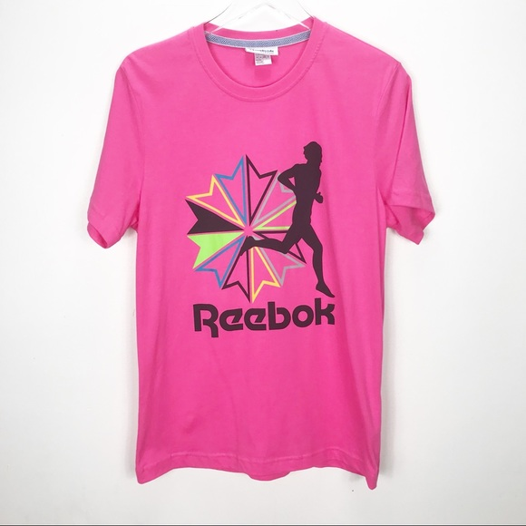 219e3914db22b 80s Reebok Graphic Tee Pink Short Sleeves Sz M